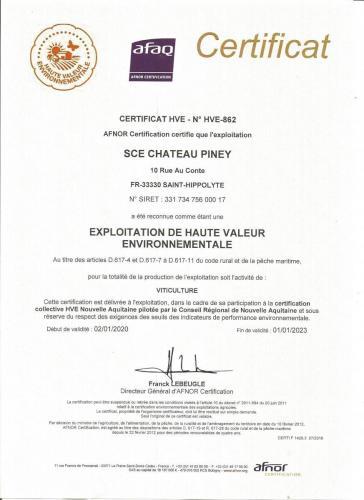Certificat HVE Piney 2020